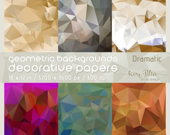 """Polygon Geometric Backgrounds / Decorative Papers """"Dramatic"""" / Abstract Digital Art Crafting Collage Printable"""