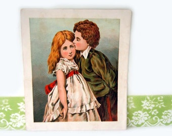 Antique Brother Wall Hanging Book Plate Picture Childrens Book 1800s