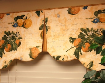"Custom Valance RENEE Hidden Rod Pocket® Valance fits 28""- 40"" window,Scalloped valance made with your fabrics, my LABOR and lining"