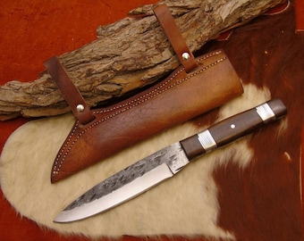 Viking Knife with leather/brass scabbard hand forged 1095 steel (e)