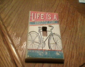 bicycle life is a journey Primitive Light Switch or Outlet cover!!!