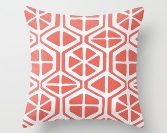 Coral Pillow cover Beachy Pillow Cover Decorative Pillow Cover Couch Pillows Size Choice Accent Pillow