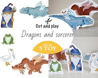 dragon, wizard, goose, toad, frog, toy of paper, DIY