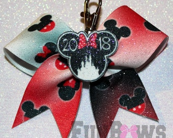 Amazing ORIGINAL design Disney Minnie Mickey Mouse  Cheer Keychain Bow  ! - By FunBows !