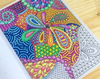 Pretty Patterns Coloring Book, Zentangle Inspired Printable File, 12 Pretty Zendoodles to Color