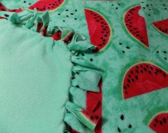 Watermelon Slices Hand Tied Fleece Blanket