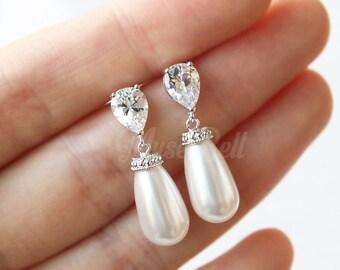 Swarovski white teardrop pearl earrings, Wedding gift earrings, White bridal earrings, CZ stud earrings, Drop Earrings, Bridesmaid Gift,