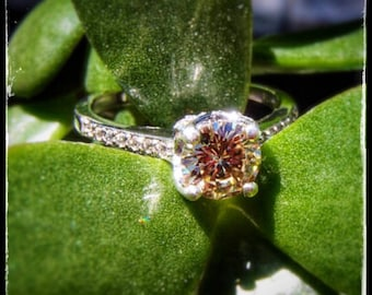 PERFECT PROMISE** Solitaire Ring w/champagne moissanite, 1.01 ct, sterling silver, universal fit band, & CZ accents!