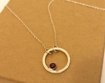 Garnet necklace January birthstone circle necklace garnet pendant