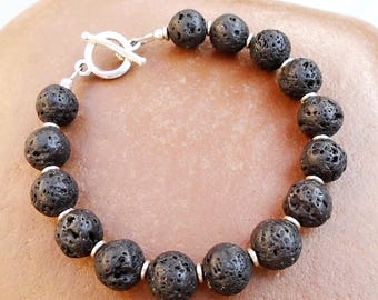 Black-Lava-Stone-Essential Oil-Sterling Silver-Bracelet / Free US Shipping