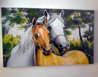 "Custom Horse Painting, 31"" X 24"", Equine painting, Horse portrait, 2 horses, equine art, canvas art."