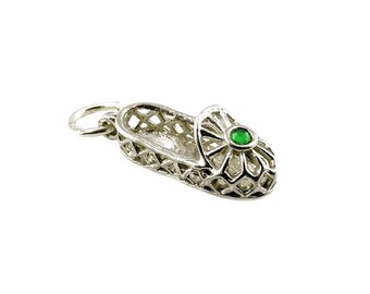 Sterling Silver Green Jewelled Dancing Shoe Charm For Bracelets
