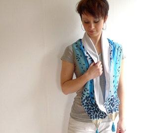 Blue Tassel Scarf, Neck Scarf, Spring Scarf, Fashion Accessories, Striped Scarf -  Leaf Vintage Retro Fabric, Jersey