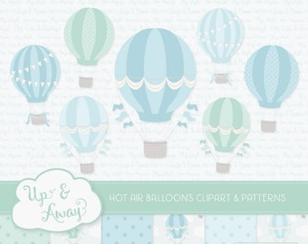 Blue & Mint Hot Air Balloons Clipart with Digital Papers - blue and mint hot air balloons clipart, hot air balloons vectors
