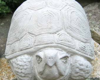 Turtle In Concrete, Garden Art, Cement Tortoise For Ponds, Two Turtles Cast Stone Decor