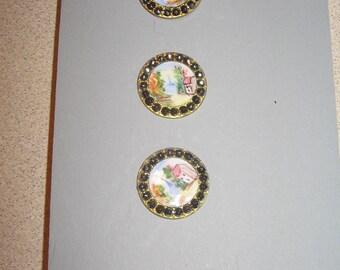 Button Rare set of 4 Hand Painted Enamel Steel Cut Vintage Antique Sewing Buttons PR#136