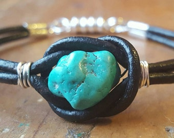 Black Leather and Turquoise Nugget bracelet, Boho Bracelet, Leather Bangle, Leather Wrap Bracelet, Magnetic Clasp, Wire Wrap Bracelet
