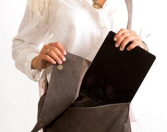 Sale!!! Brown Gray leather Crossbody bag, Leather Messenger Laptop Satchel Bag