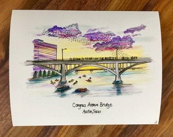 Congress Bridge, Austin TX Print
