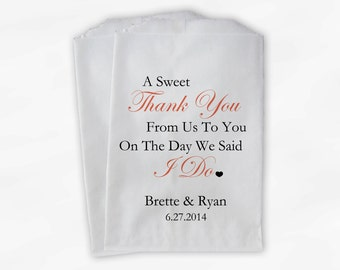 Sweet Thank You Wedding Candy Buffet Treat Bags - Coral Personalized Favor Bags with Couple's Names and Wedding Date (0054-7)