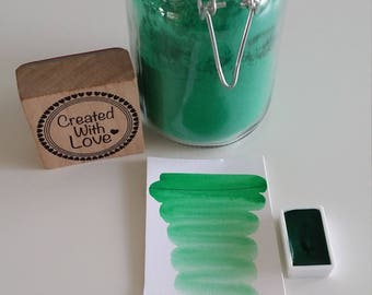 Full pan Emerald green dark handmade watercolor