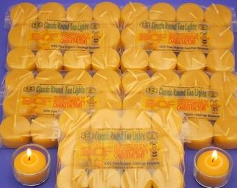 Beeswax Candles, Set of 60 Beeswax Tea Lights, Bulk Beeswax Tea Light Refills, Canadian Bees Wax Candles, Pure Beeswax Candles