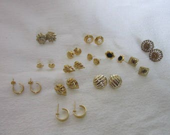 Lucky 13 Pairs of Petite Gold Tone Pierced Earrings Nice