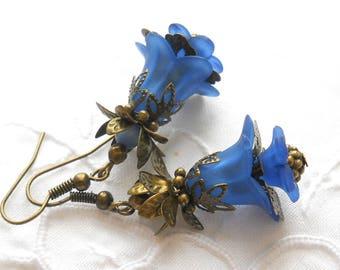 blue filigree earrings flower earrings blue earrings blue flower earrings floral earrings gift for her blue floral earrings lucite flower