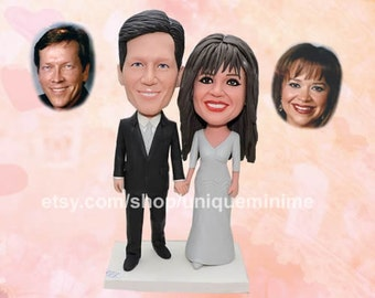 Wedding Cake Toppers Rustic Personalized, bobblehead   topper, Rustic cake topper
