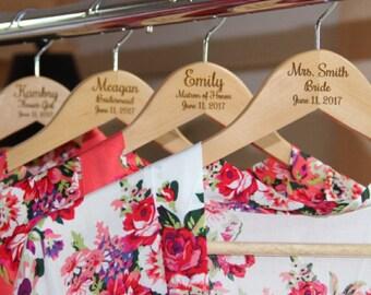 4 Personalized Bridesmaid Hangers, Wooden Engraved Hangers, Bridal Dress Hangers, Custom Wedding Dress Hangers, Bridesmaid Hangers, 3 Lines