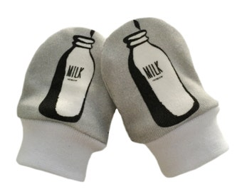 ORGANIC Baby SCRATCH MITTENS in Milk Bottles & Various Designs - A New Baby Gift Idea