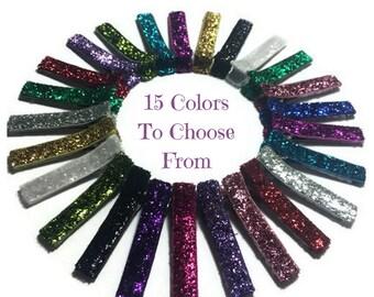 50 Glitter Lined Alligator Clips, 45mm, No Slip Hair Clips, Glitter Lined Clips, Glitter Hair Clips, Glitter Ribbon Clips, Glitter Covered