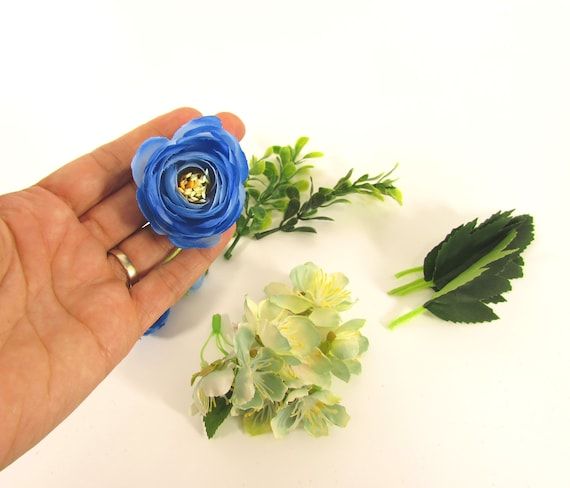 Artificial flowers blue flowers  Fake flowers  Silk Ranunculus with 2 types of greens DIY flower wreaths flower crowns Mixed flowers