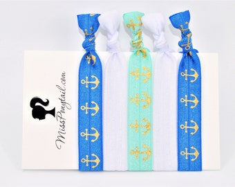 Anchor Hair Ties, Blue, Aqua, Gold Foil Anchors, Elastic FOE Hair Ties, Hair Accessories, Ponytail Holder, Knotted Hair Ties, missponytail