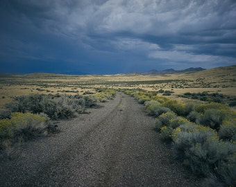Nevada Landscapes,Country Road,Storm Clouds,Large Metal Prints,Mountain Road Photo,Road Trip Photography,Nevada Photography,Large Wall Art