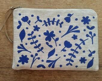 Colbalt blue floral flat zip pouch grey linen- screen printed and handmade