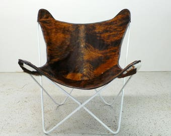 Knoll Jorge Ferrari Hardoy authentic mid century modern reupholstered butterfly chair in cowhide FREE SHIPPING