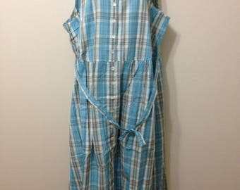 Vermont Country Store Cotton Blue Plaid Jumper Dress Size L