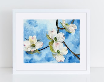 Spring Painting, Dogwood Tree Art, Original Watercolor, Tree Art