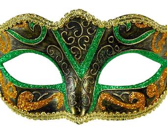 V Glitter Green/Gold Masquerade Mask
