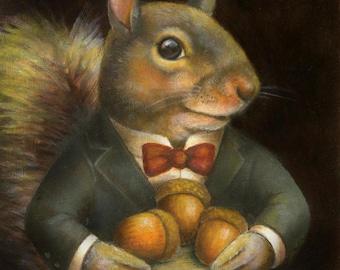 Squirrel Portrait Print - Squirrel Print - Victorian Squirrel - Animal Portrait - Anthropomorphic -Squirrel Art