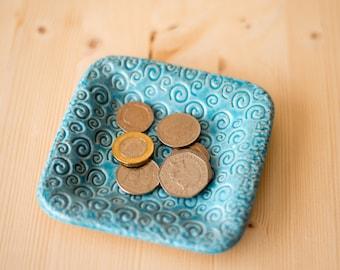 Blue Square ceramic coin dish, handmade stoneware swirl key dish, loose change dish, trinket dish, trinket tray, coins plate, tea bags.