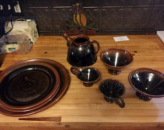 Very nice stoneware service set for 2