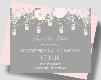 SAVE THE DATE Cards Blush Pink and Gray Mason Jars | Shabby Chic Save the Date Card  |Beautiful Gray and Blush Pink Rustic Mason Jar Wedding