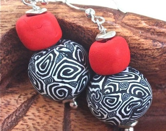 Earrings Polymer red fire engine red poppy swirled black and white sterling beads and ear wires jewelry  OOAK