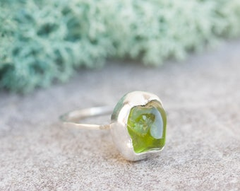 Raw Peridot ring in Sterling Silver, rough green peridot ring, August birthstone