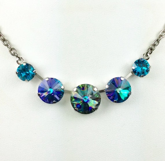 Swarovski Crystal Necklace 14MM, 12mm, 8.5mm -  Five Stone Necklace   14MM Aqua Peacock Eye Center    Sparkle & Shimmer - FREE SHIPPING