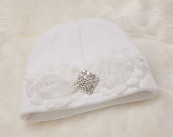 White Infant Baby Girl Beanie Hat with Chiffon and Rhinestone