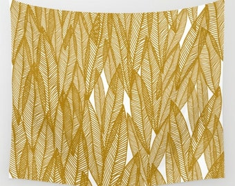 Golden Yellow Leaves Wall Tapestry- modern wall decor- gold and white leaves- nature art- minimalist home decor- fabric wall decor