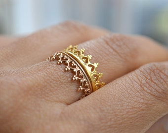 "Plated crown ring, wedding ring. engagement band. ""There is no queen without a crown""  vermeil .  22k gold over silver"
